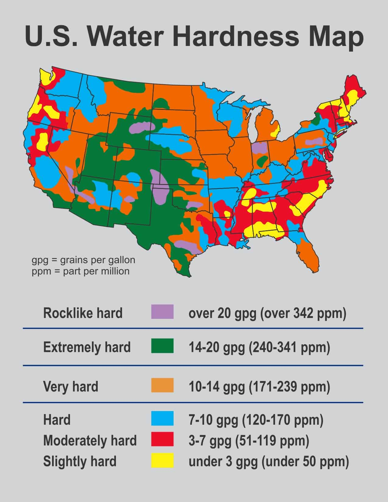 Calcium Hardness Level US Water Hardness Map - Hard water map us